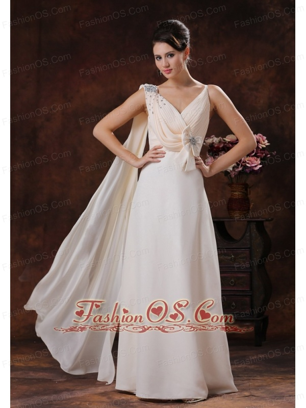 Champagne V-neck Watteat Train Chiffon Prom Dress With Beaded and Bow Decorate In Paradise Valley Arizona