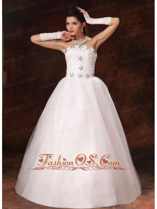 2013 New Styles Beaded Strapless A-line Floor-length Customize Wedding Dress