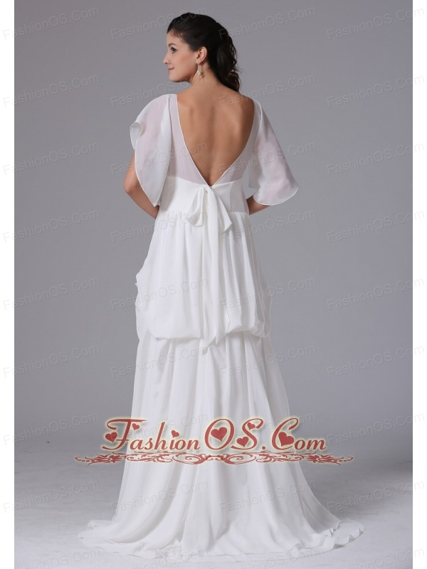 2013 Simple Scoop Short Sleeves Maternity Wedding Dress With Chiffon ...