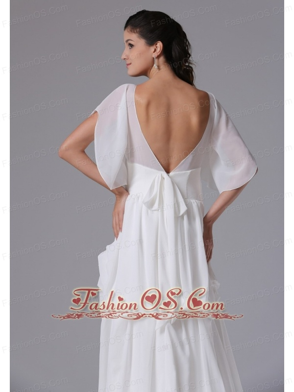 2013 Simple Scoop Short Sleeves Maternity Wedding Dress With Chiffon In Cheshire Connecticut