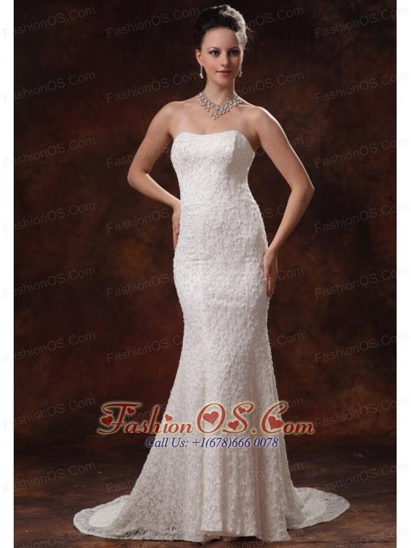 2013 Wedding Dress For Custom Made Lace Mermaid Brush Train In Albany Georgia