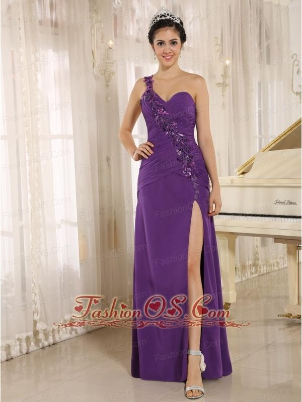 Addison Alaska High Slit Purple Prom Dress With Sequins Decorate Shoulder