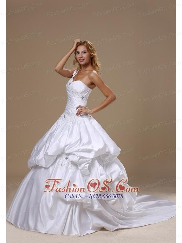 Appliques Decorate One Shoulder Neckline and  Bodice Pick-ups Taffeta Ball Gown 2013 Wedding Dress Chapel Train