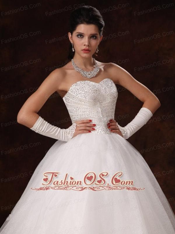 Ball Gown Sweetheart Beaded Organza Custom Made Floor-length Wedding Dress For 2013