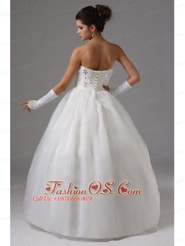 Ball Gown Wedding Dress With Appliques Decorate Bust Strapless Tulle In Altadena California