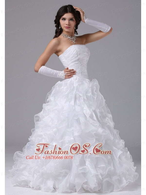 Ball Gown Wedding Dress With Ruffles and Strapless Floor-length In Carmichael California City
