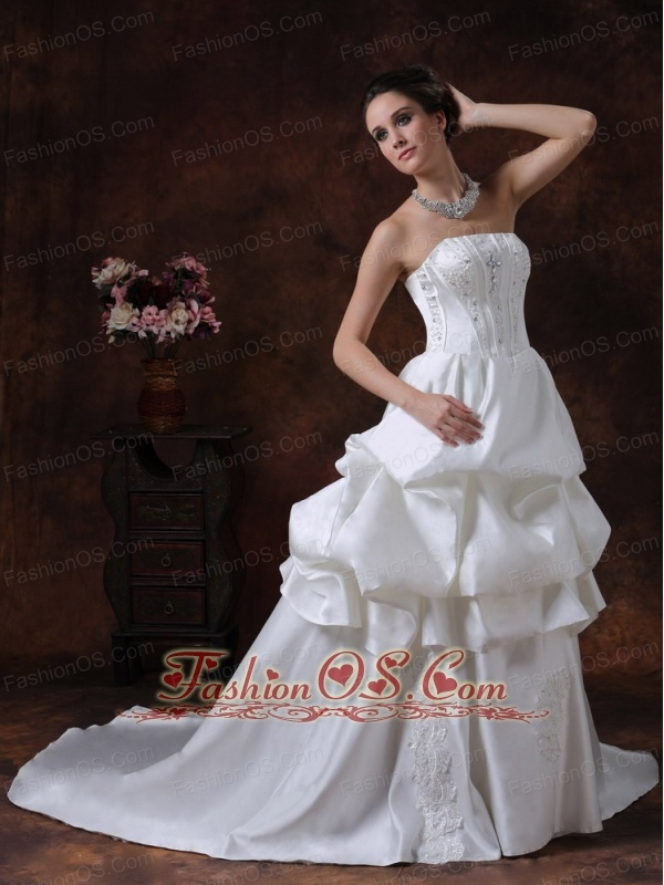 Beading Pick Up Strapless Taffeta Wedding Dress For 2013 Court Train