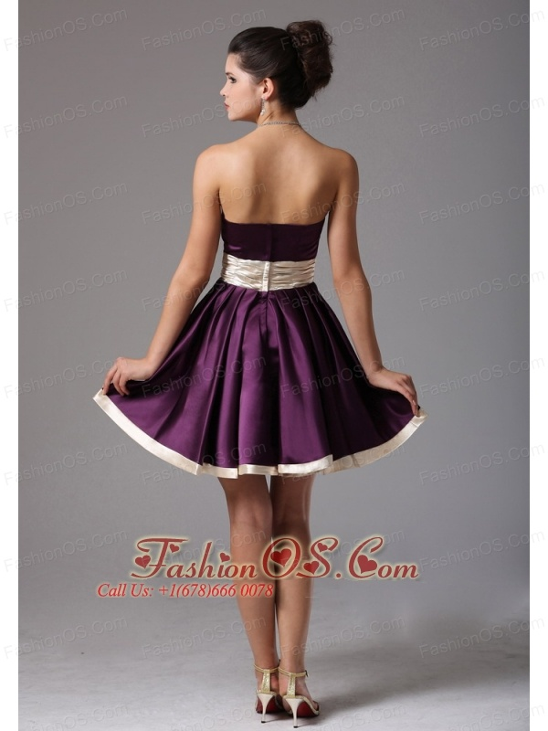 Beautiful Dark Purple Strapless Short Prom Dress With Sash Mini ...