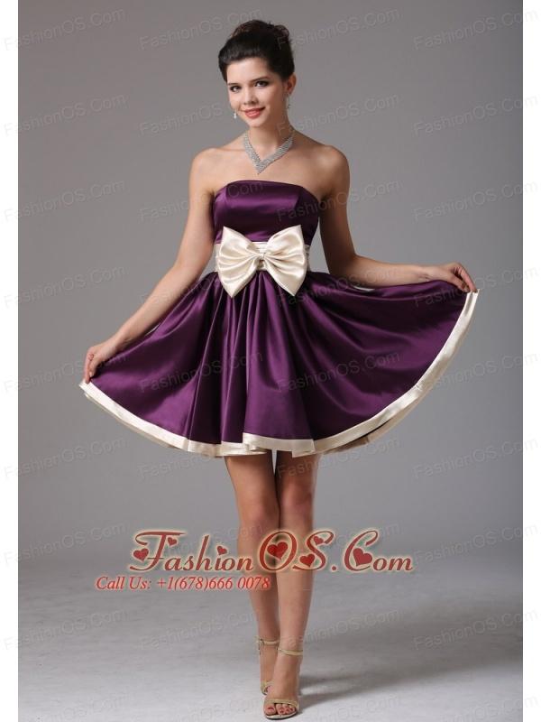 Beautiful Dark Purple Strapless Short Prom Dress With Sash Mini ...