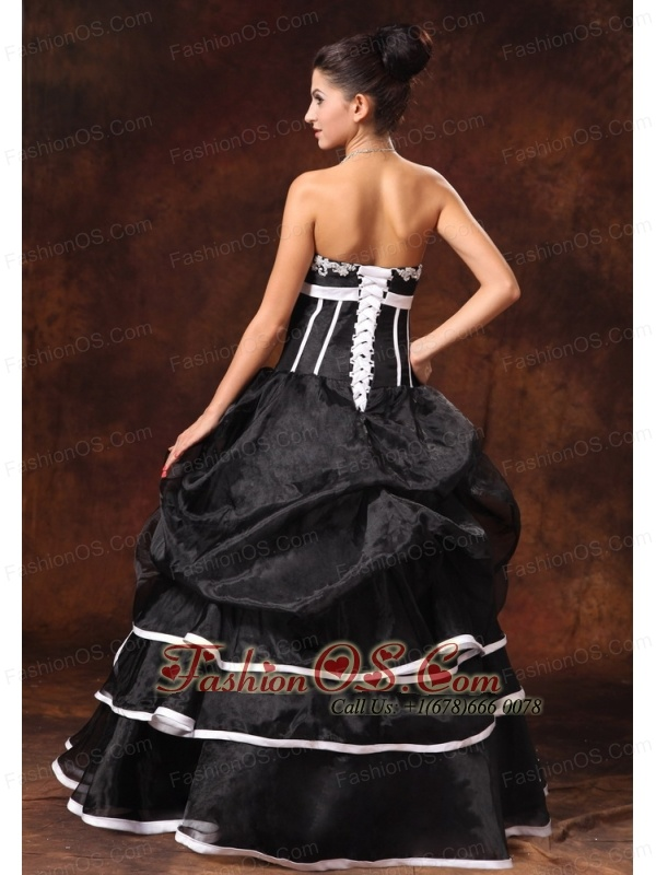 Black Organza A-line Strapless Appliques New Style 2013 Prom Gowns In Daphne Alabama