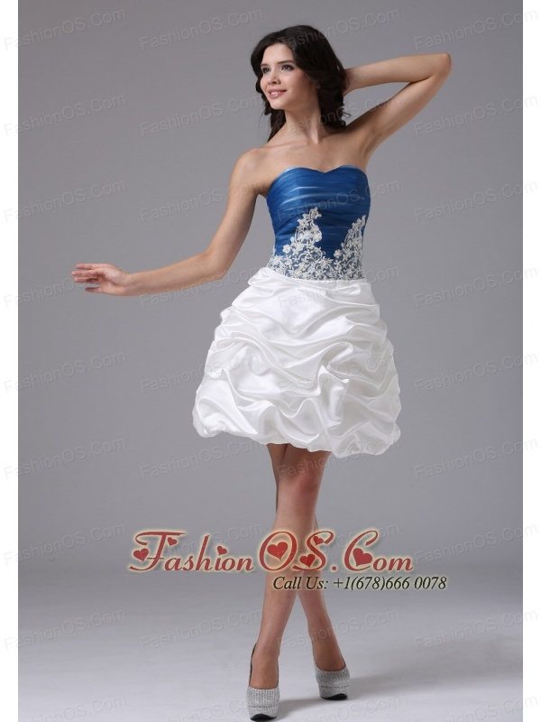 Blue and White With Appliques and Pick-ups For Short Prom Dress In ...