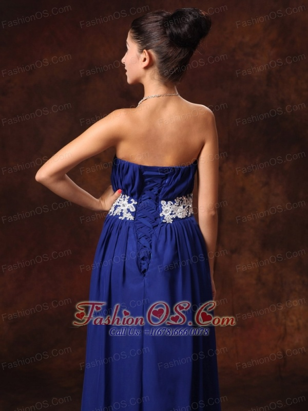 Blue Chiffon Appliques Decorate Waist Strapless Custom Made 2013 New Arrival Prom Gowns With Lace Up Back