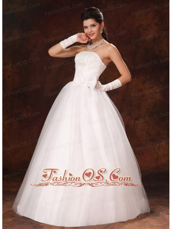 Bowknot Organza Strapless A-Line Garden Maternity Wedding Gowns For Custom Made In 2013