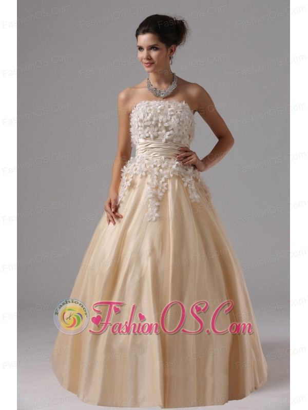 Champagne and Appliques For 2013 Ball Gown Prom Dress Floor-length ...