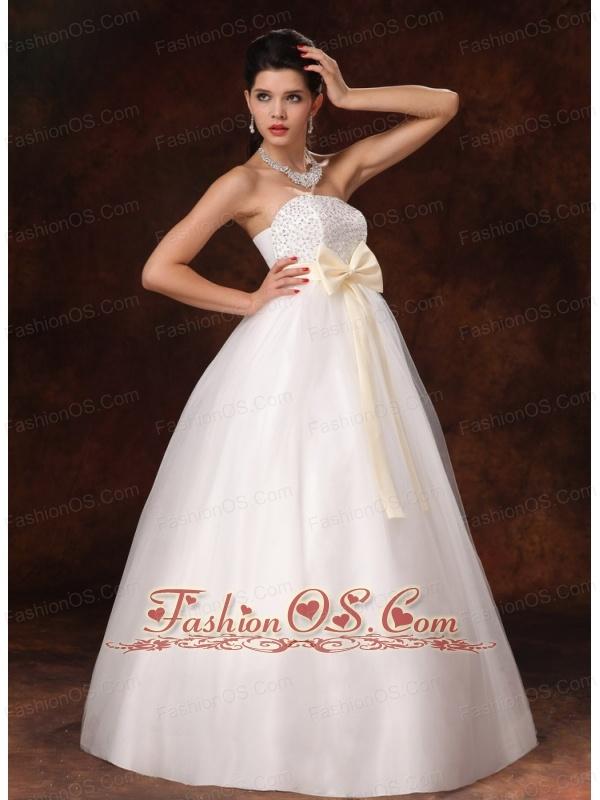 Champagne Bowknot A-Line Stylish Maternity Wedding Dress For 2013 Custom Made In Alaska
