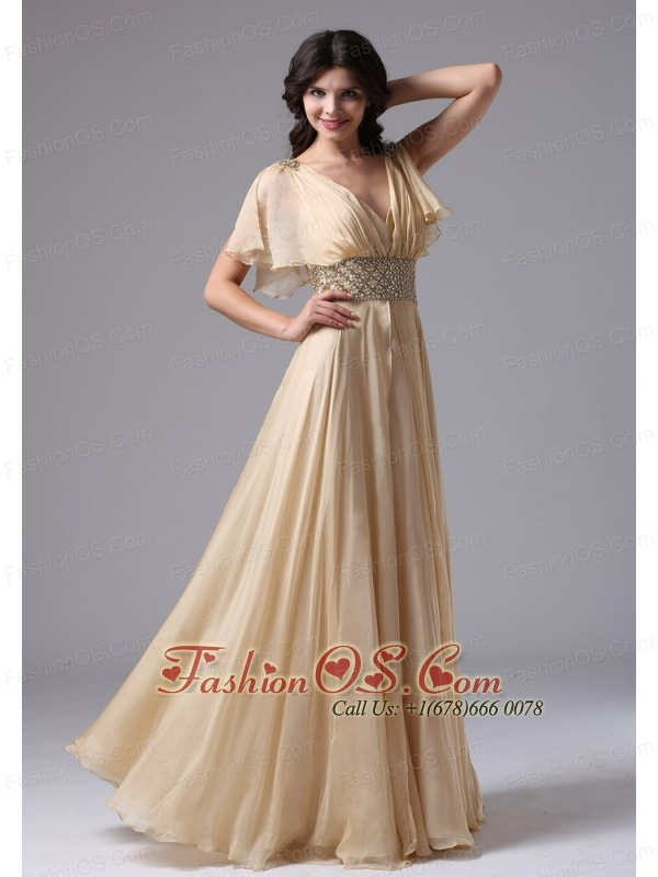 Champagne V-neck In Alhambra California and Beaded Decorate Waist ...