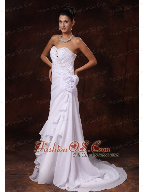 Chiffon Beading Brush / Sweep A-Line Sweetheart Wedding Dress