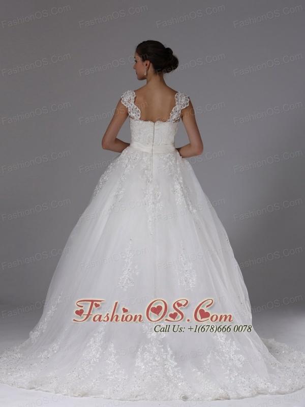 Custom Made Ball Gown Wedding Dress In Auburn California Lace Sash Cap Sleeves Brush Train