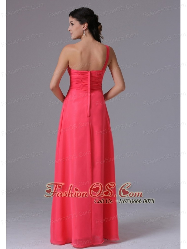 Custom Made Coral Red One Shoulder Beading and Ruch Norwich Connecticut Prom Dress