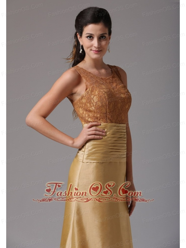 Custom Made Gold Scoop Ruch and Lace Prom Dress With Satin In Greenwich Connecticut 2013