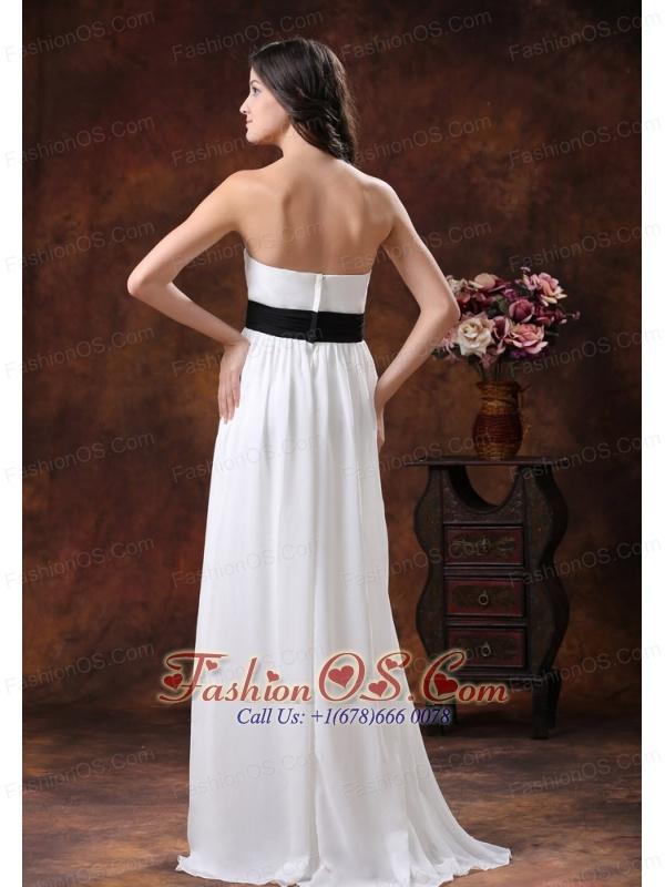 Made White Chiffon Brush Train Low Cost Wedding Dress With Black ...
