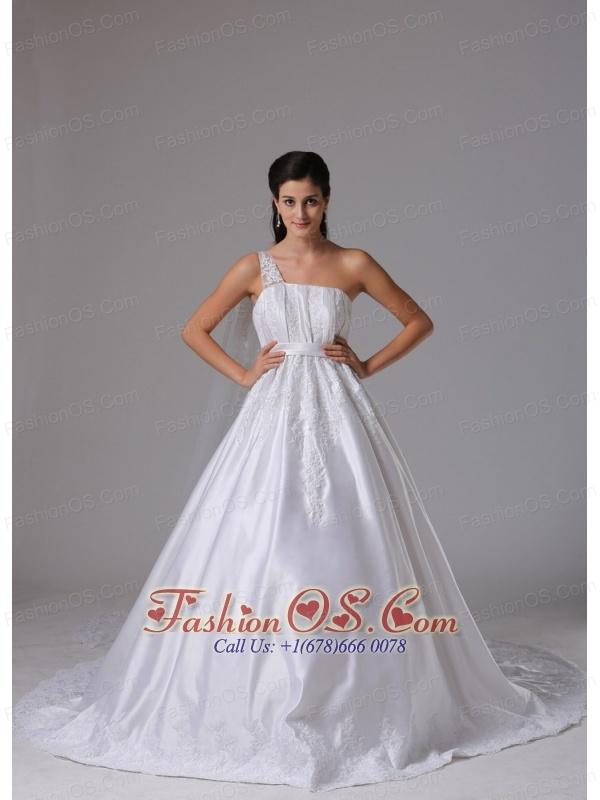 Customize A-line One Shoulder 2013 Wedding Dress Embroidery and Ruch In Madison Connecticut