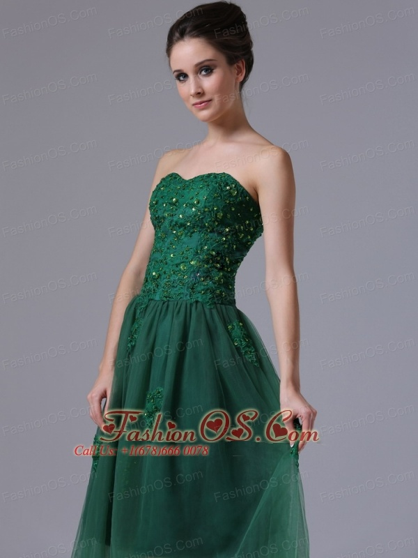 Dark Green Sweetheart A-Line Tulle 2013 Short Prom Dress With Beading