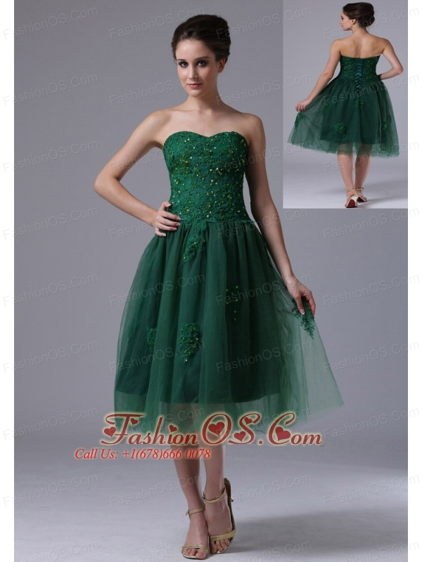 Dark Green Sweetheart A-Line Tulle 2013 Short Prom Dress With ...