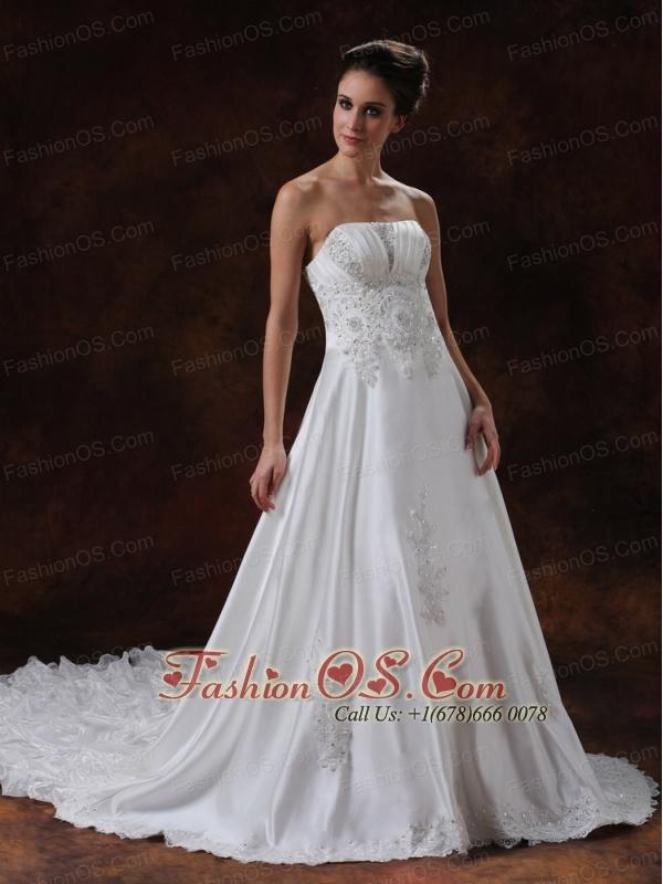 Elegant Strapless Beading Taffeta Chapel Train 2013 Wedding Dress
