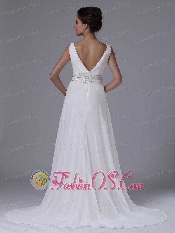 Empire Beaded Decorate Waist Beach Wedding Dress For 2013 V-Neck Chiffon Court Train