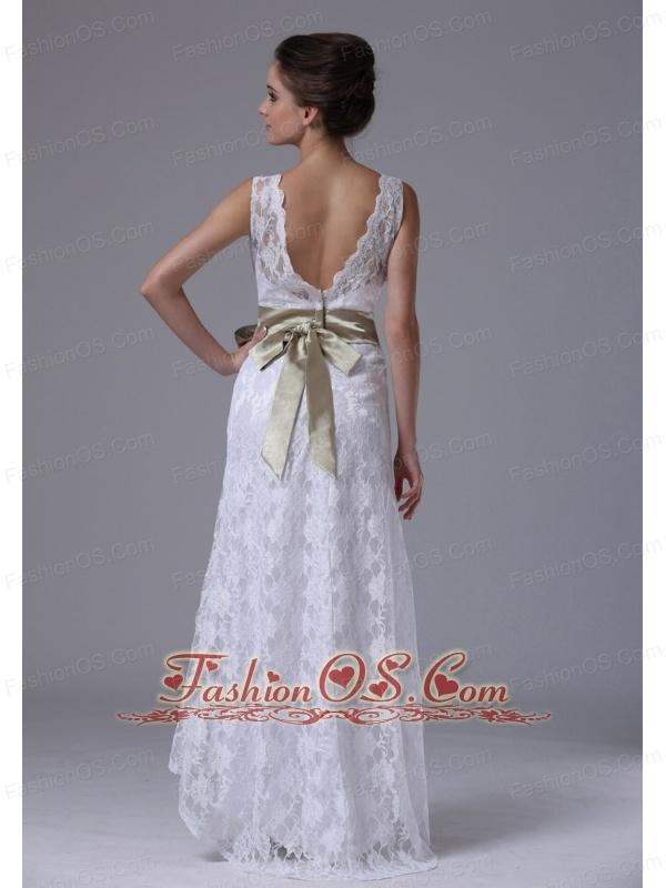 High-low V-Neck Lace Stylish Customize Wedding Dress With Sashes/Ribbons