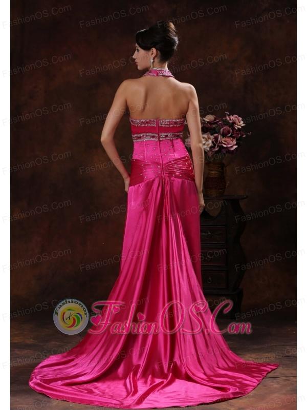 High Slit Hot Pink Prom Dress With Halter Beaded Decorate In Orange Beach Alabama