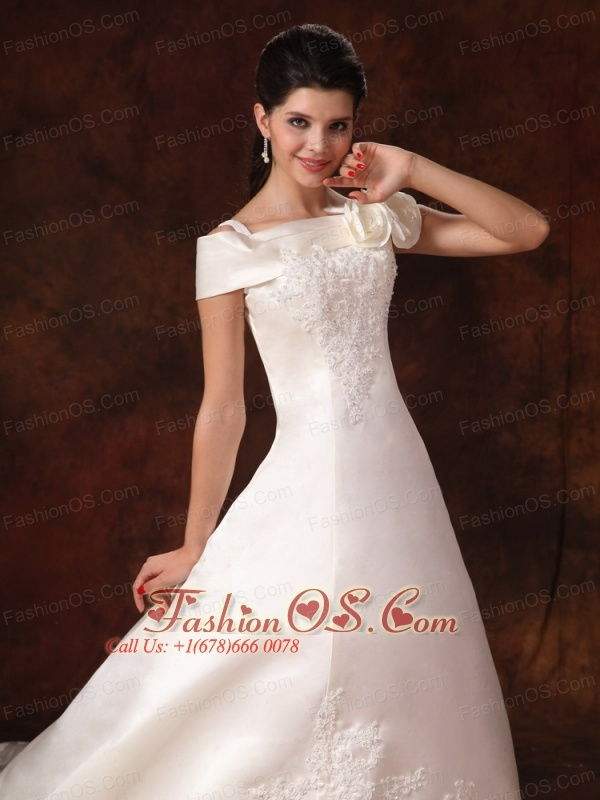 Lace Off The Shoulder A-Line Elegant Appliques Customize Cathedral Train Wedding Dress