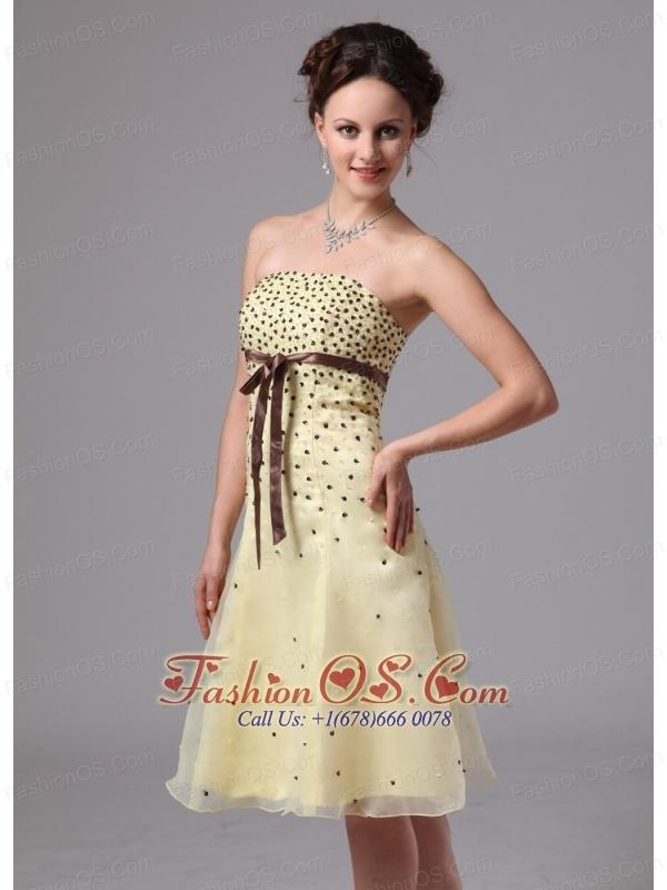 Short light yellow prom dress – Dress and bottoms