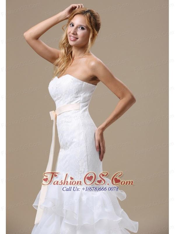 Mermaid Wedding Dress With Sash Ruffles Layered Lace Organza