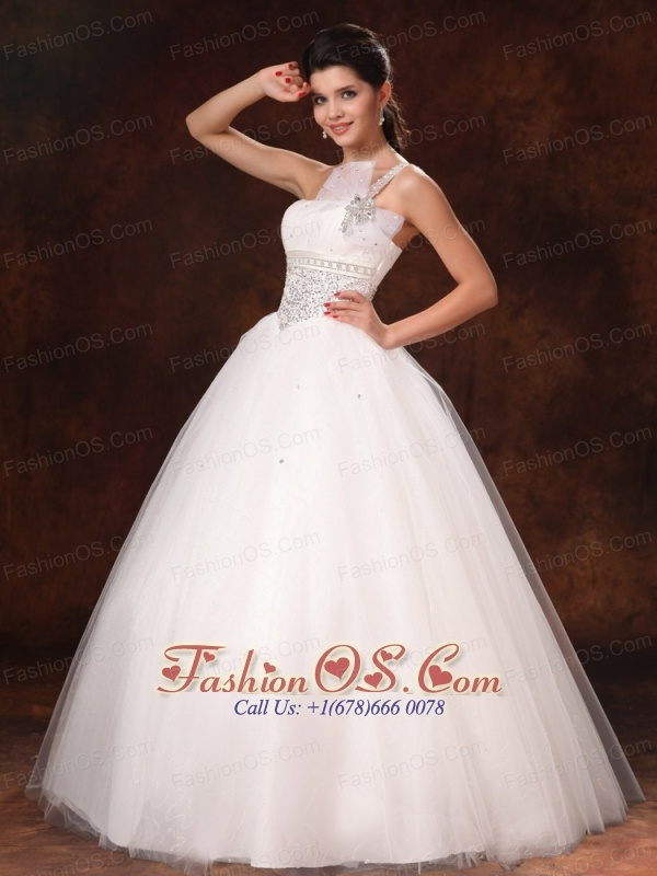One Shoulder Organza Bowknot Beaded Hottest Ball Gown Wedding Dress ...