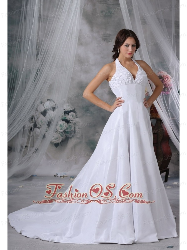Oskaloosa Iowa Halter Pick-ups Decorate Bust Chapel Train Exclusive Style Wedding Dress For 2013