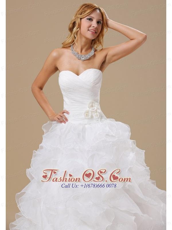 Popular Style Ruffles Decorate Bodice Hand Made Flowers A-line Court Train Organza 2013 Wedding Dress