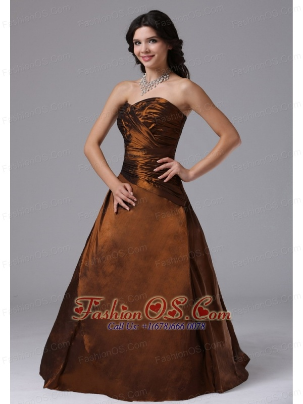 Rust Red Ruched Bodice and Sweetheart For Modest Plus Size Prom ...