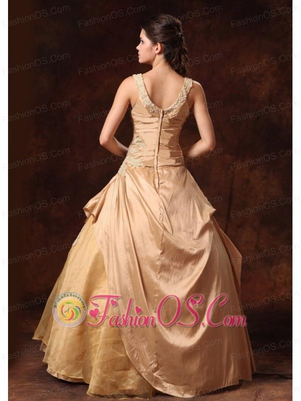 Scoop Champagne Appliques Taffeta And Organza Floor-length Custom Made Prom Dress