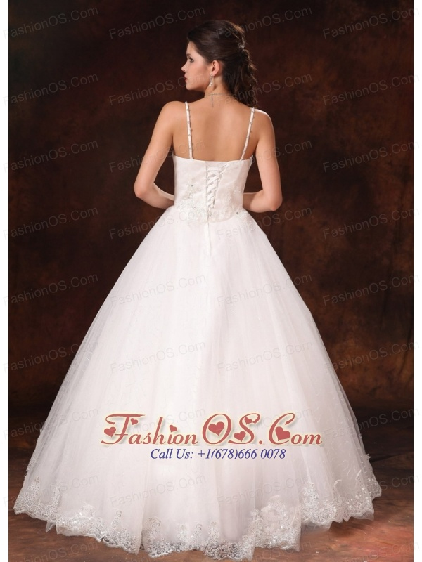Spaghetti Straps Beaded Bowknot Customize Wedding Dress With Lace Tulle In Bay Saint Louis