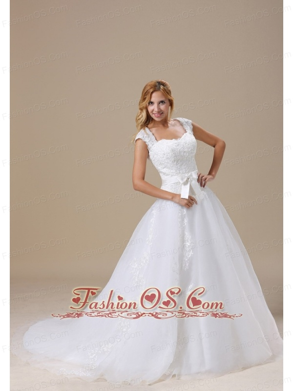 Square Cap Sleeves and Sash For Wedding Dress With Lace Bodice