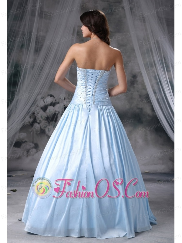 Story City Iowa Beaded Decorate Up Bodice A-line Sweetheart Neckline Organza and Taffeta Light Blue Sweet Style 2013 Prom Dress