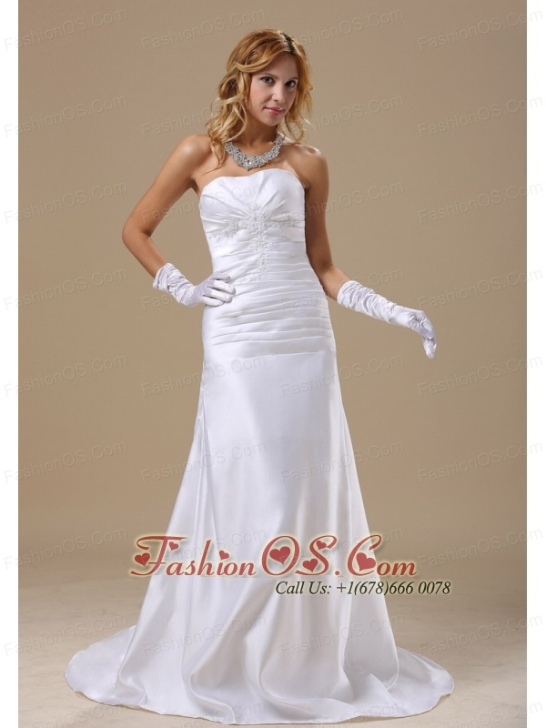 Strapless Applqiues Custom Made and Ruched Bodice For Wedding Dress
