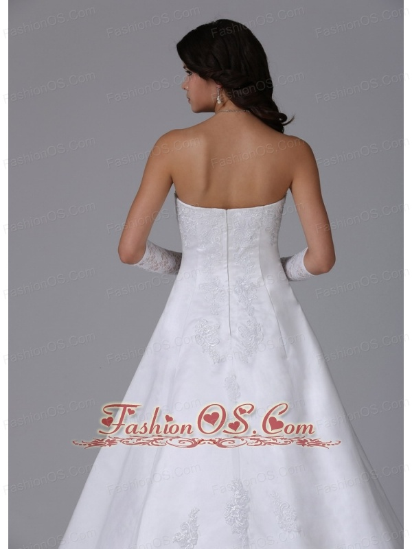 Strapless Ball Gown Wedding Dress With Lace and Satin In Carlsbad California