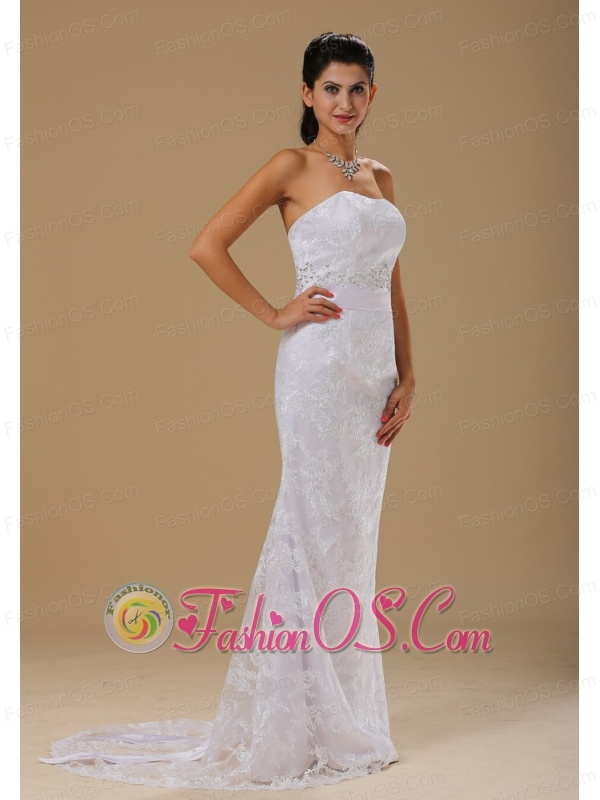 Strapless Lace Over Skirt Beaded Decorate Waist For Wedding Dress