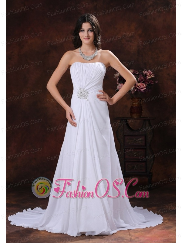 Surprise arizona chiffon white beaded decorate sweetheart for Wedding dresses low cost