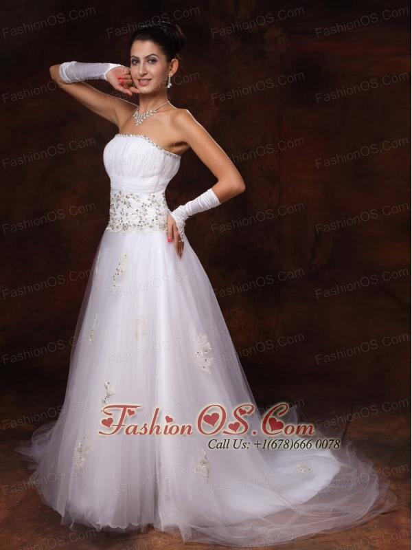 Tulle Strapless Appliques And Beaded Decorate Waist Court Train Garden Customize Wedding Dress