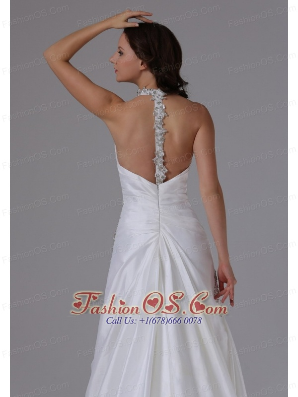 2013 Halter Ruched Bodice and Beading Wedding Dress With Brush Train