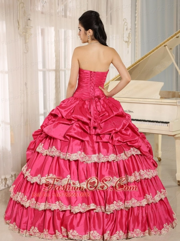 2013 Hot Pink Beaded Appliques and Pick-ups Quinceanera Dress For Custom Made In Koloa City Hawaii